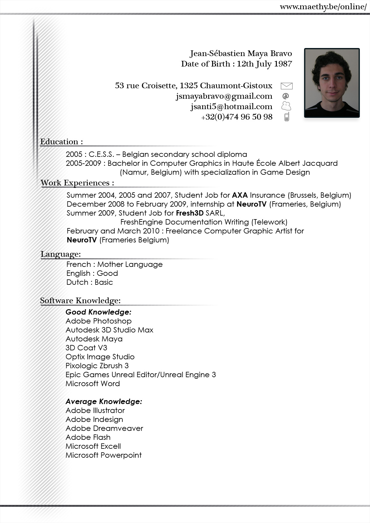 resume format  model cv in english